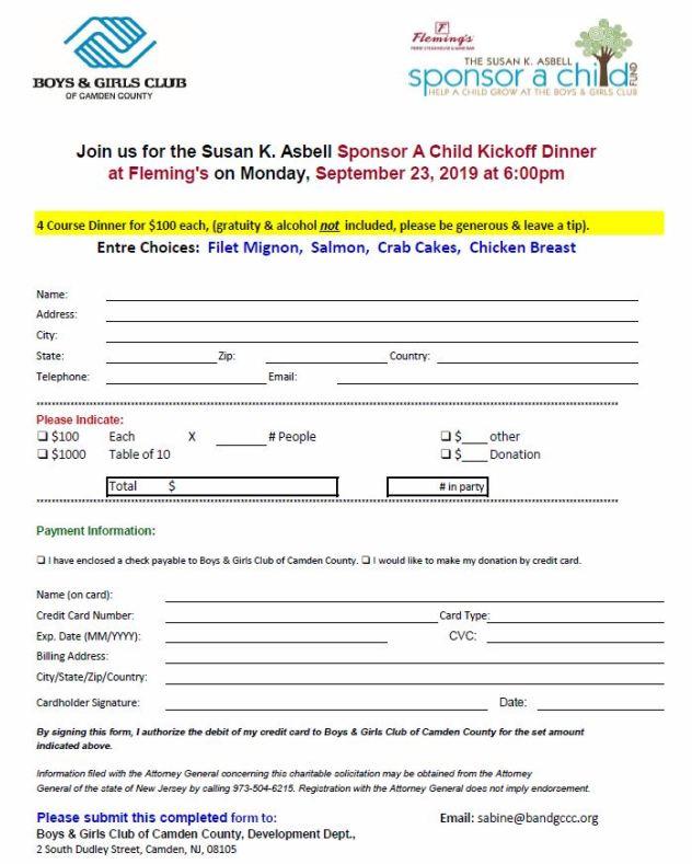 2019 SAC Kickoff sign up form